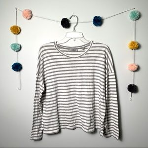 Vince Gray and White Striped Top